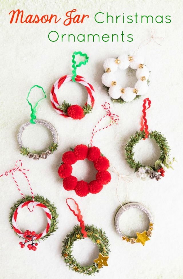 Make the Cutest Mason Jar Lid Wreath Ornaments!