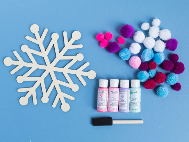 Supplies for snowflake painting