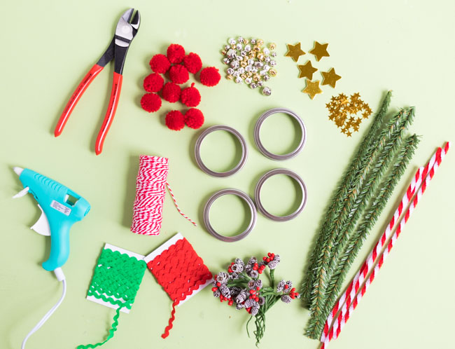 Supplies for mason jar ring ornaments