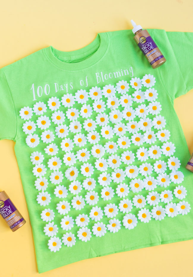 100 days of blooming shirt with 100 flowers for the first 100 days of school!