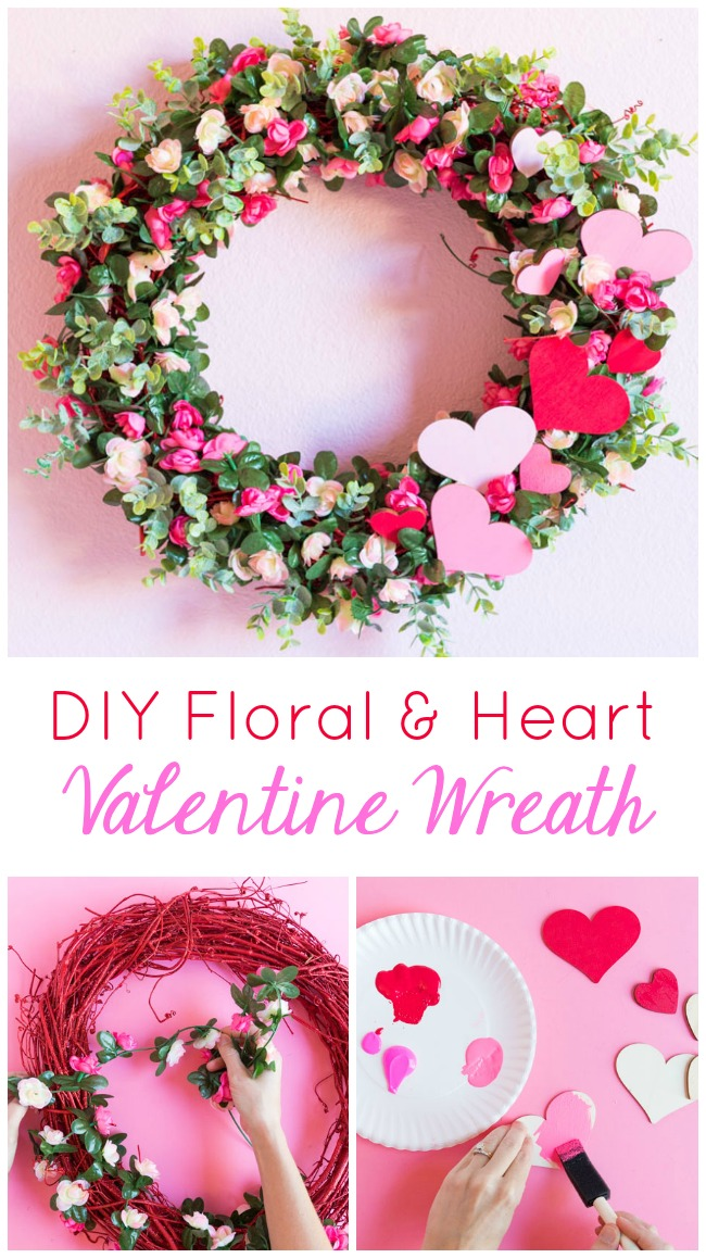 DIY Floral and Heart Valentine Wreath Tutorial