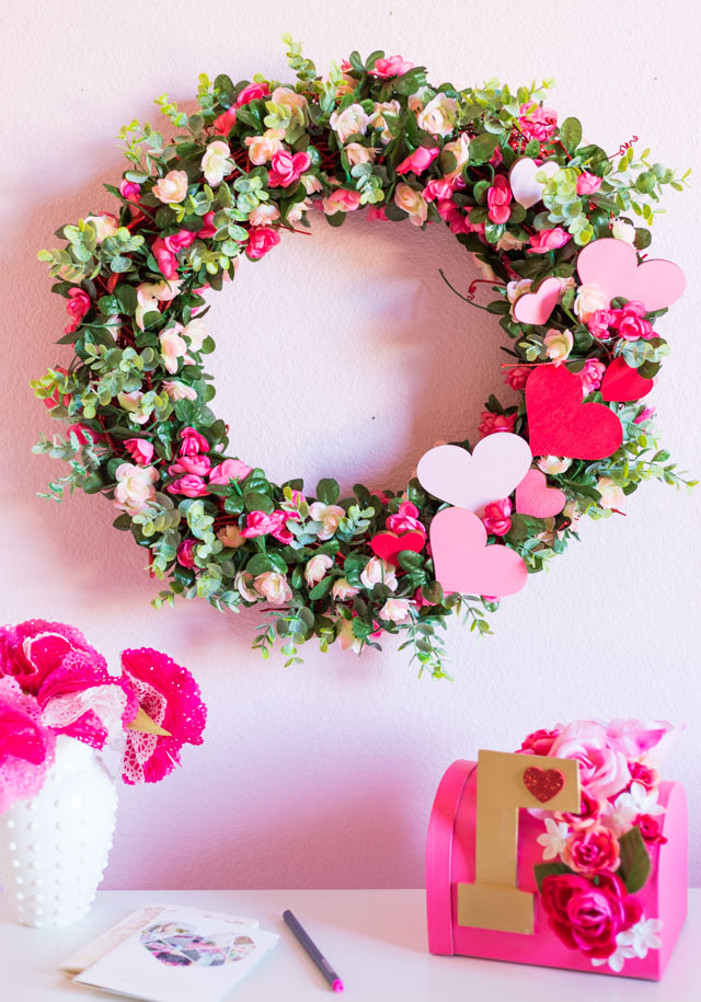 DIY Pink Rose Wreath for Valentine's Day