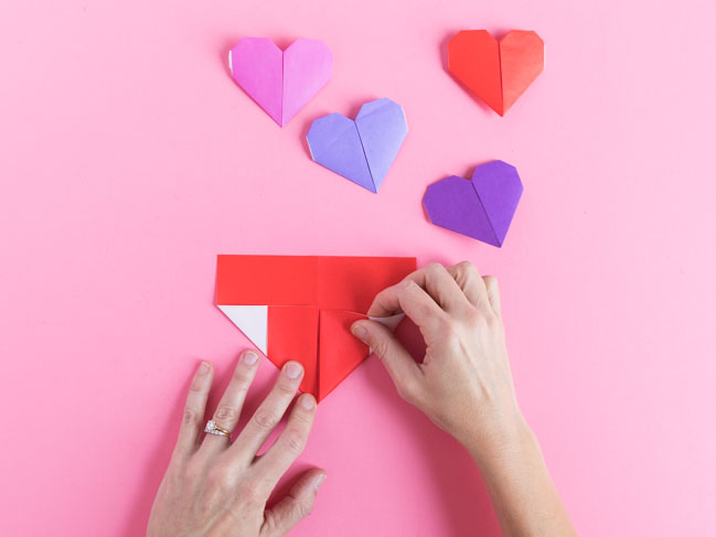 How to fold paper into a heart