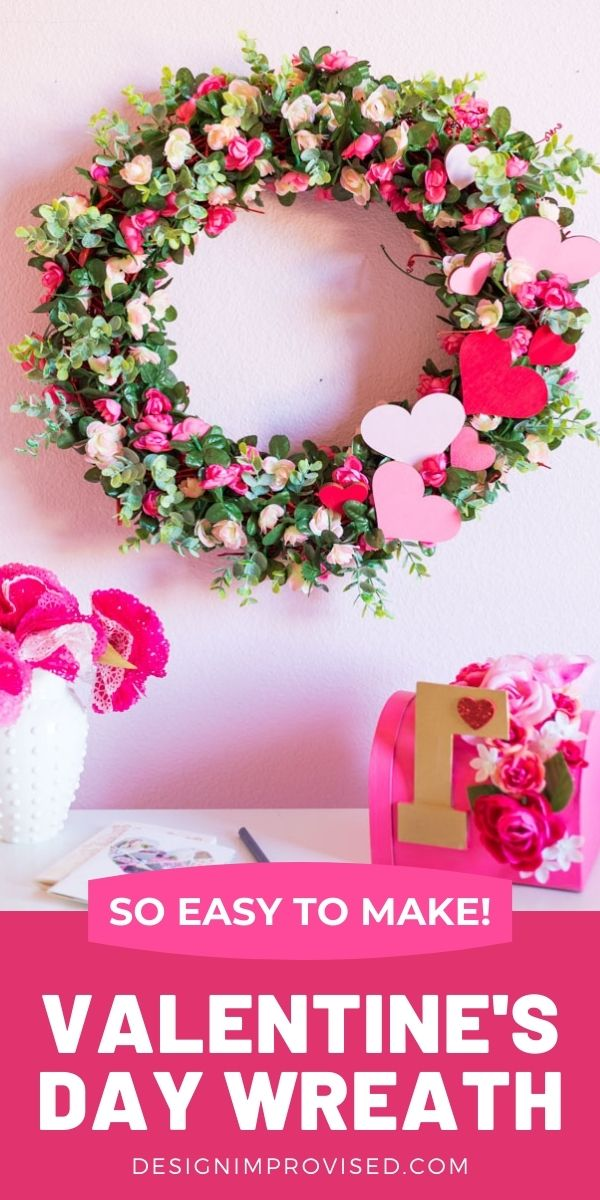 Valentine's Day Wreath with roses and hearts