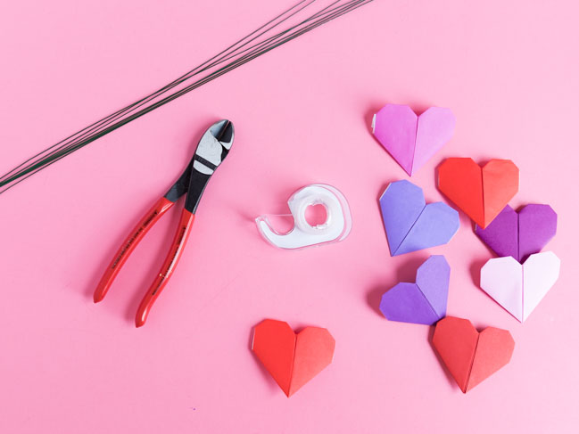 Supplies for heart origami bouquet