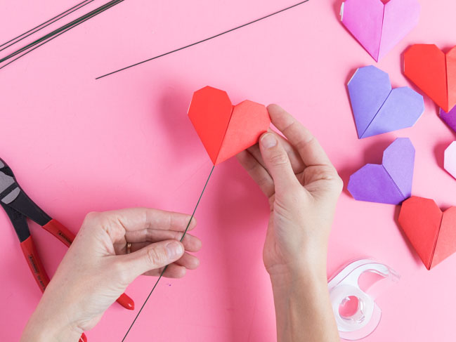 How to make simple origami heart flowers
