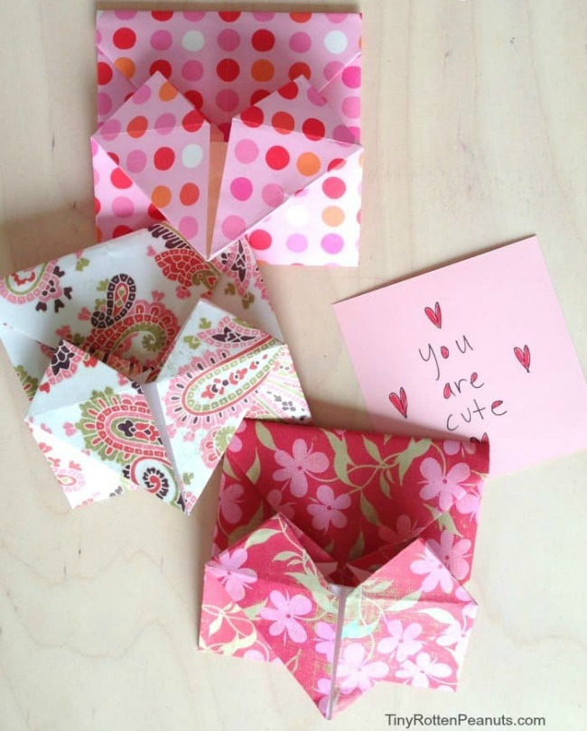 Origami Heart Envelope with Message