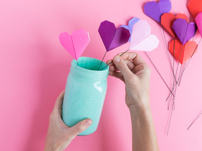 Paper heart flower bouquet for Valentine's Day