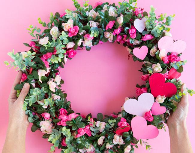 Pink flower wreath tutorial