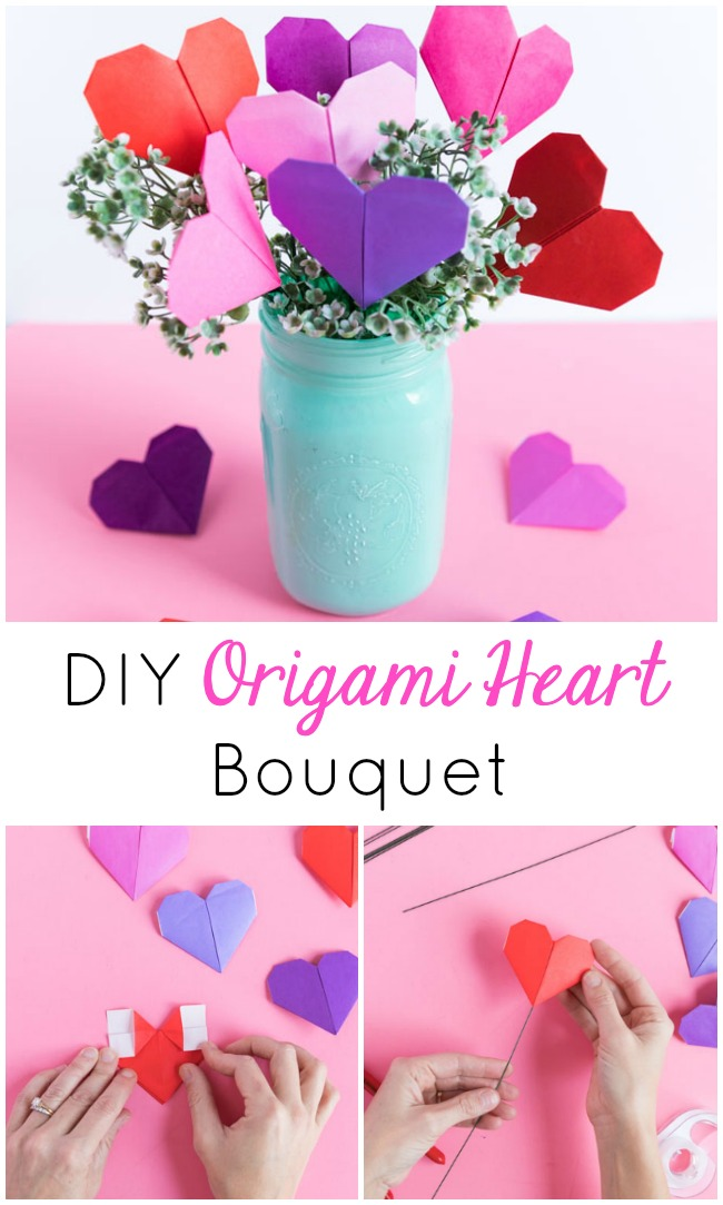 Simple origami heart bouquet