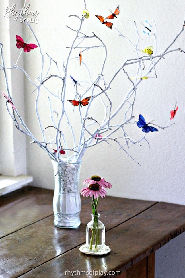 Butterflies on branches
