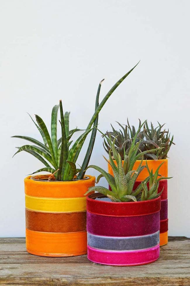 Velvet Ribbon Upcycled Planters