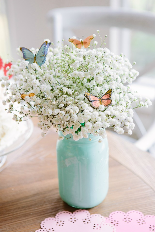 Butterfly Centerpiece Idea with Baby's Breath