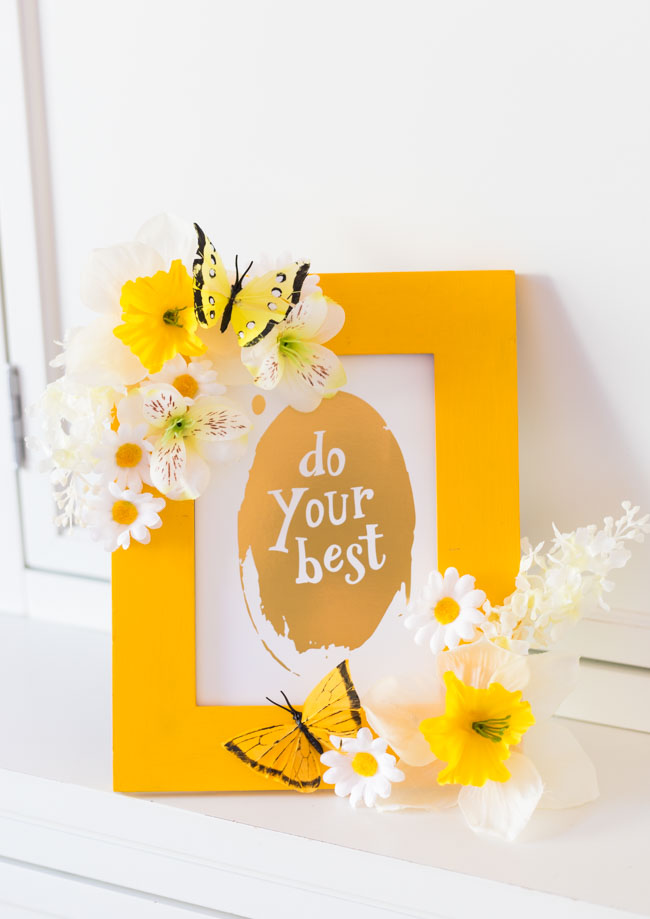 DIY Floral Butterfly Picture Frame