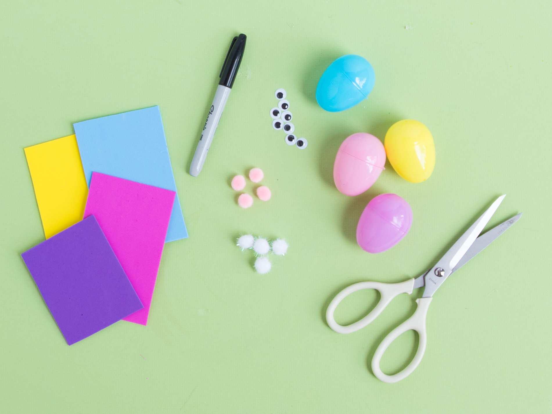 Supplies for Easter bunny eggs