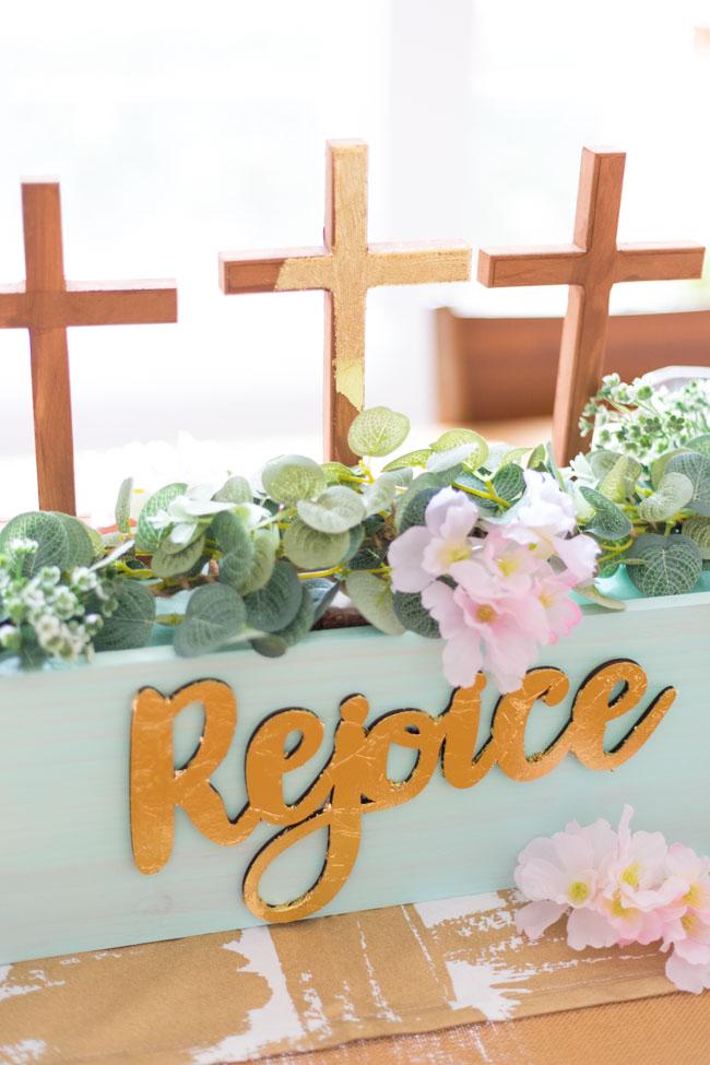 DIY Rejoice Religious Easter Centerpiece
