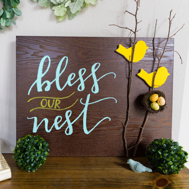 DIY Bless Our Nest Wood Sign