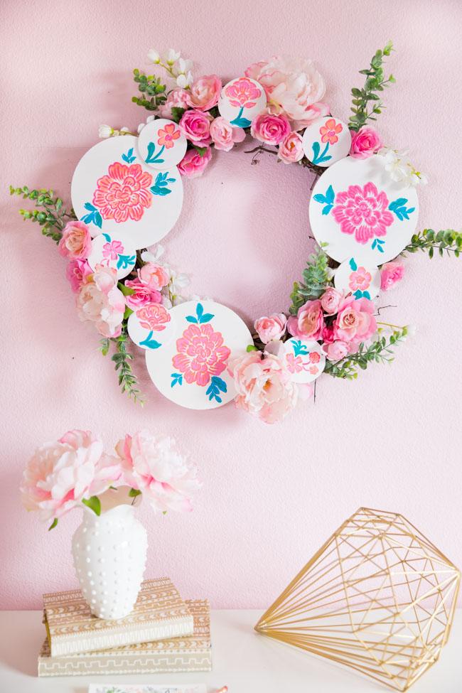 DIY Floral Painted Wood Circle Wreath