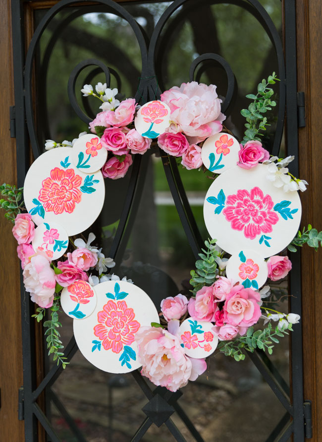 DIY Floral Painted Wood Circle Wreath