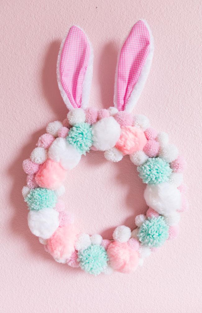 Pom-Pom Easter Bunny Wreath