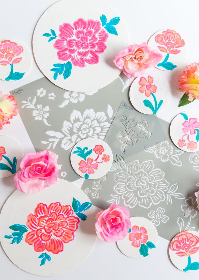 Painted Wood Slices with Martha Stewart flower stencils