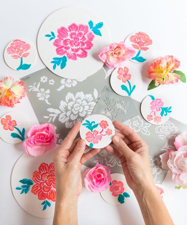 How to paint wood with Martha Stewart flower stencils