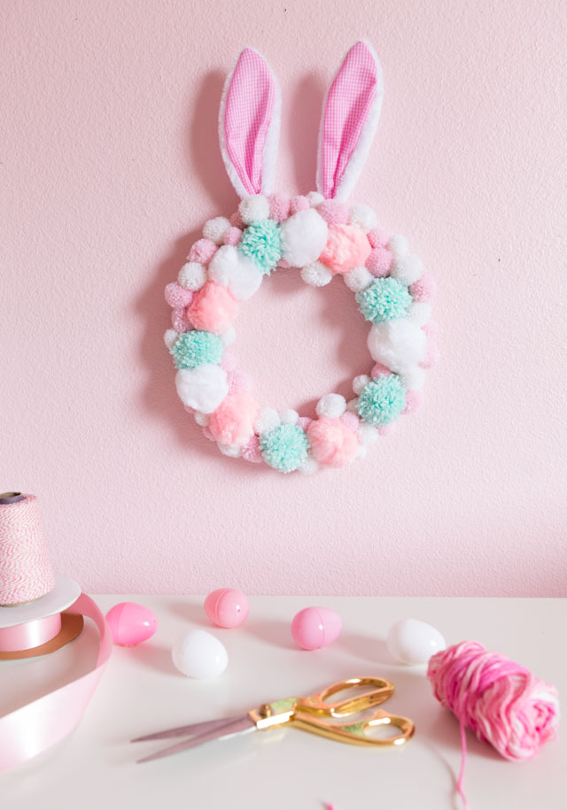 Pom-Pom Easter Bunny Wreath