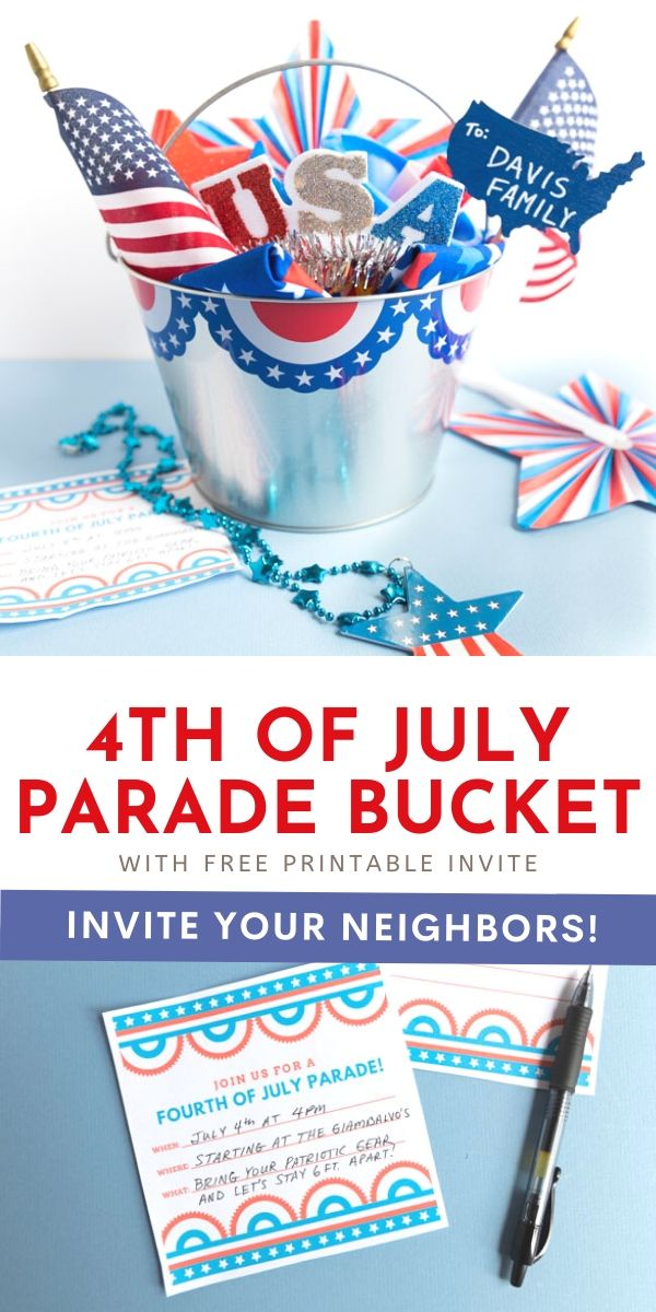 4th of July Parade Surprise Bucket with Printable Invitation