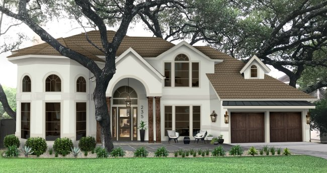 Brick and Batten exterior house front design
