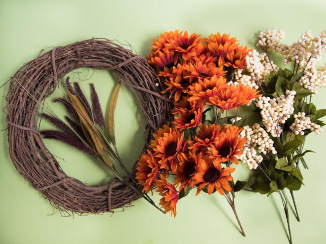 Supplies to make Dollar Tree fall wreath