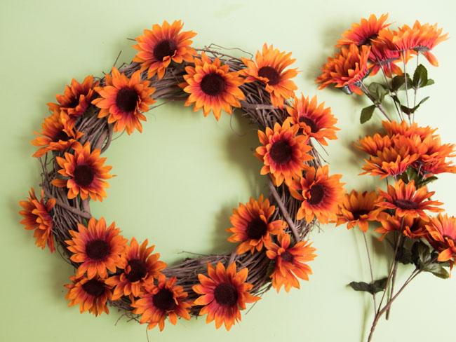 Fall sunflowers on grapevine wreath