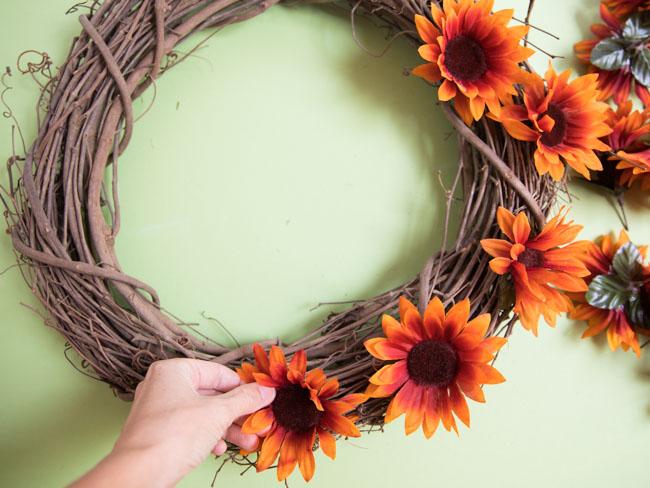 Adding sunflowers to grapevine wreath