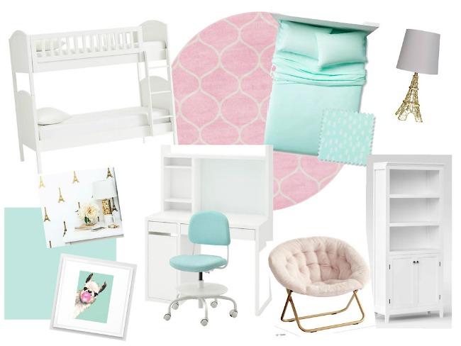 Girls Teal Paris Bedroom Decor Mood Board