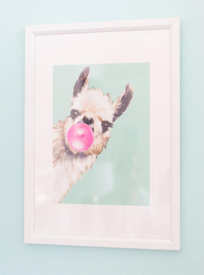 Llama blowing bubbles art