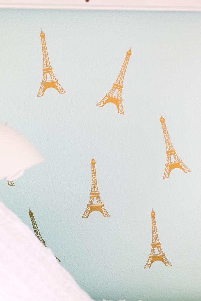 Gold paris Eiffel tower decals