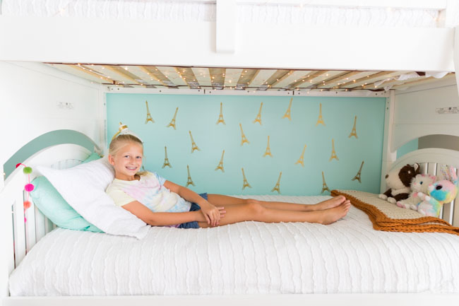 Teal girls bedroom with Paris Eiffel tower decals