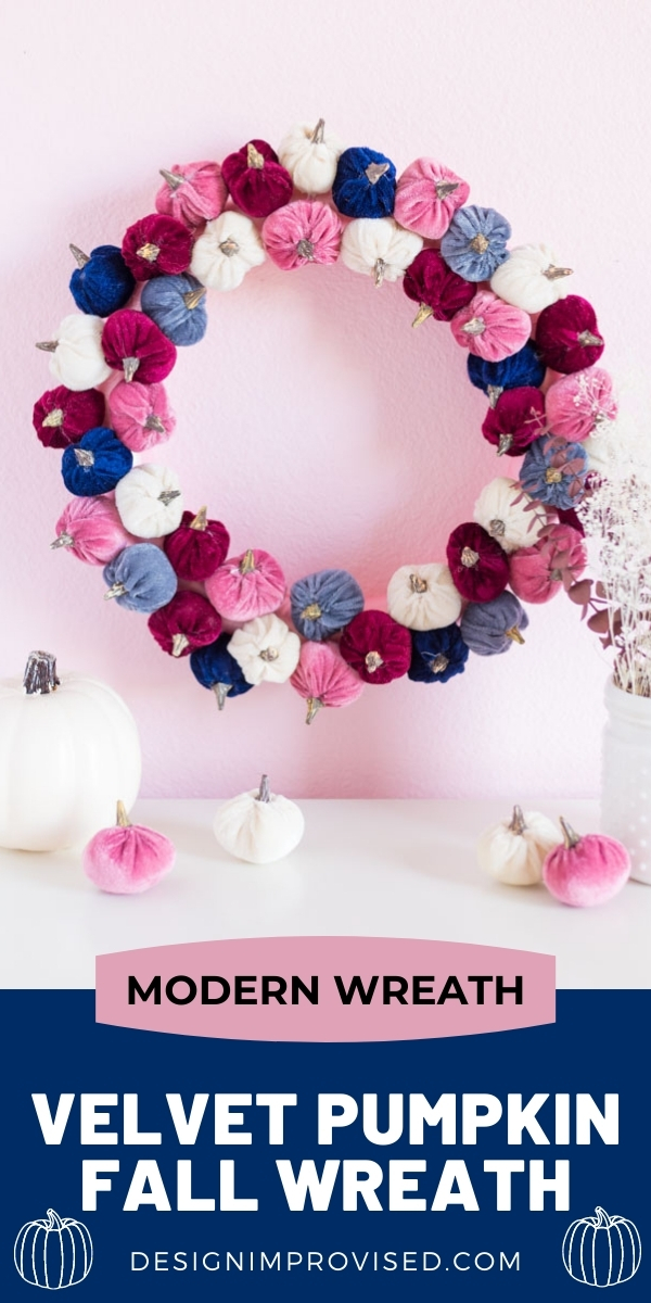 DIY Velvet Pumpkin Wreath