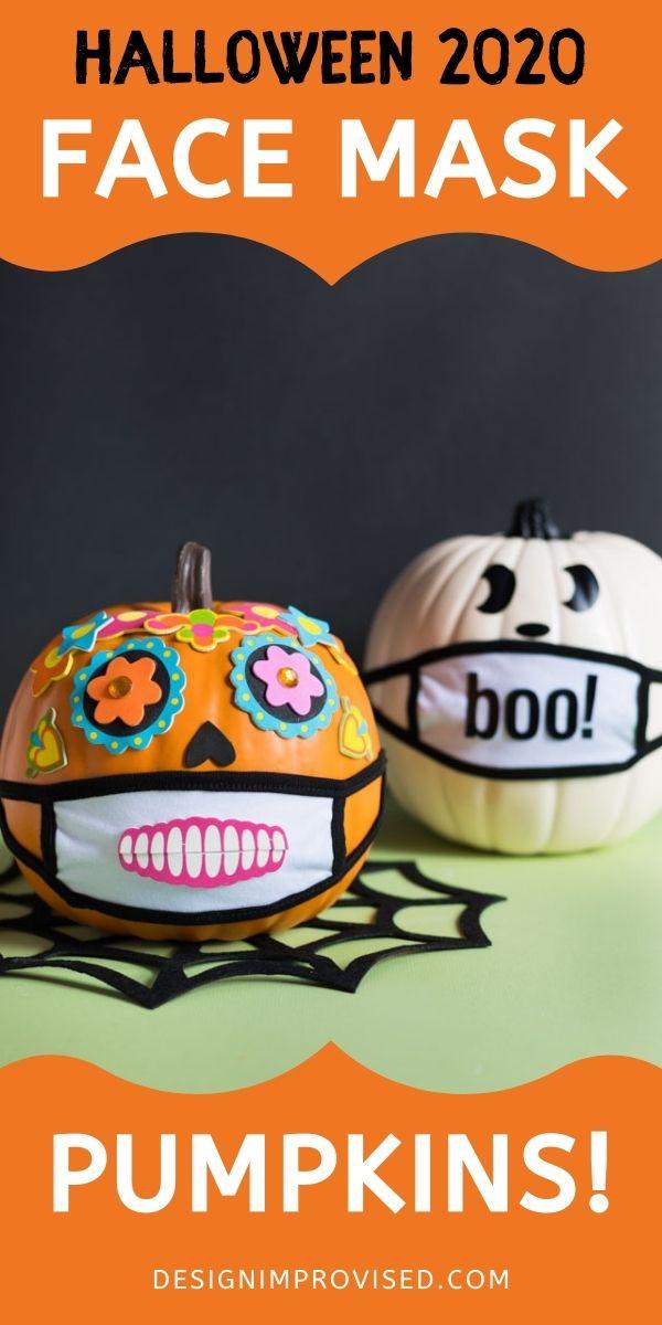 Pumpkin wearing a mask for Halloween 2020