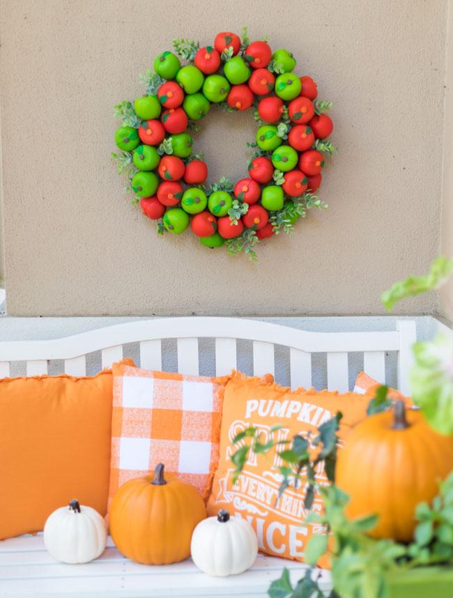 DIY Faux Apple Fall Wreath