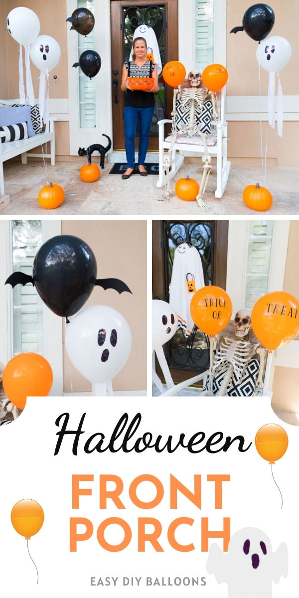 How to decorate your Halloween front porch with balloons