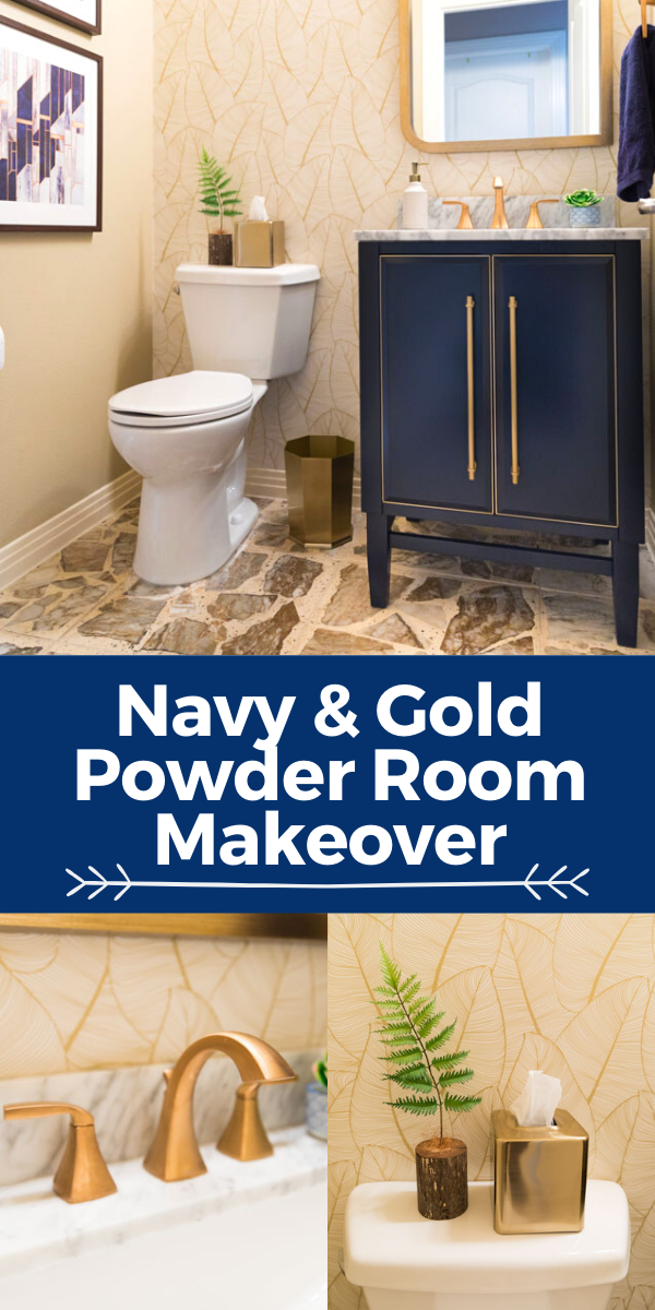 Navy and Gold Bathroom Remodel Before and After