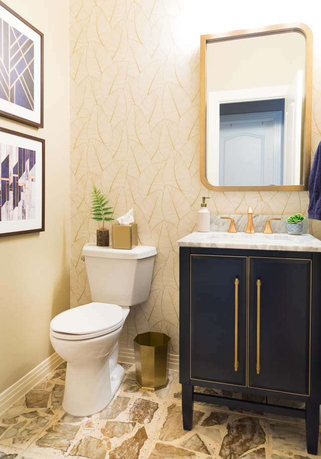 Navy and Gold Powder Room Makeover – Reveal!
