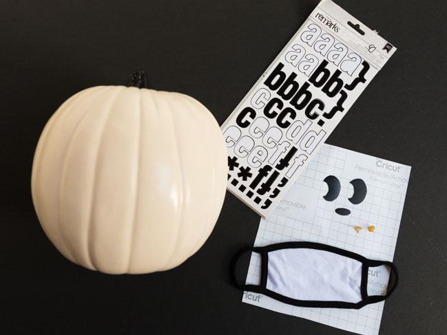 Supplies for ghost face mask pumpkin
