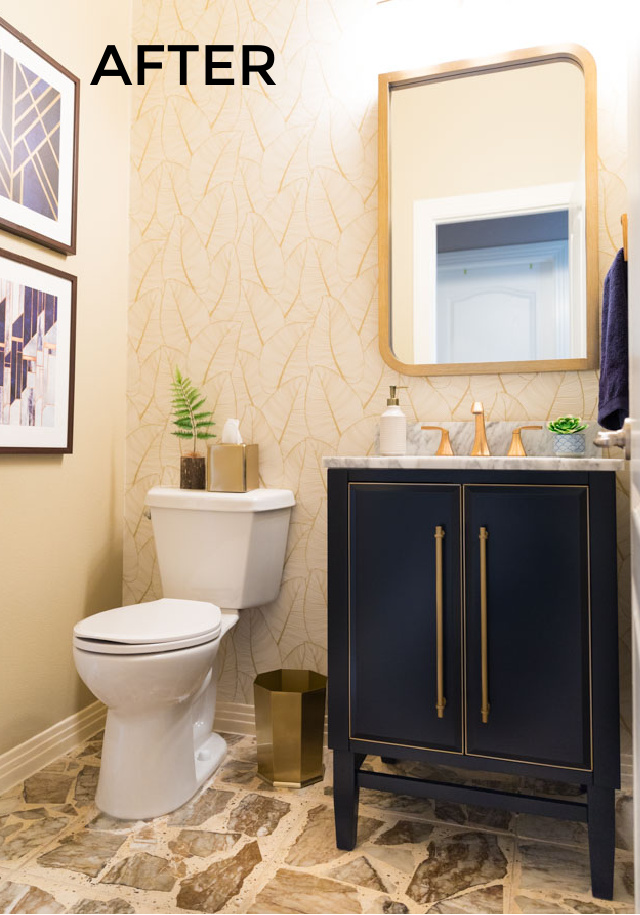 Contemporary powder room remodel with wallpaper after photo