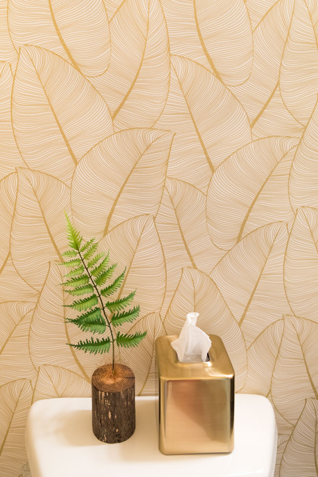 Walls Republic Gold Leaves Wallpaper in Bathroom