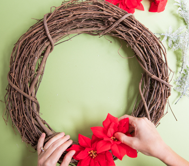 How to make a Dollar Tree poinsettia wreath