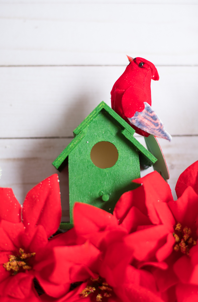 Wood birdhouse and faux bird from Dollar Tree