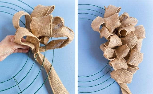 How to make a looped burlap wreath