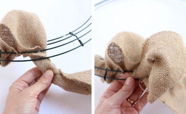 Twisting burlap ribbon for bubble wreath
