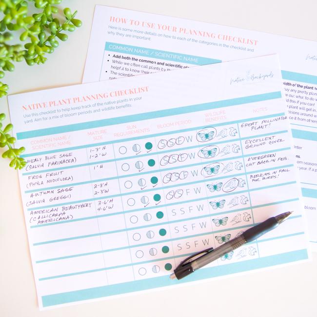 Free printable native plant garden planner